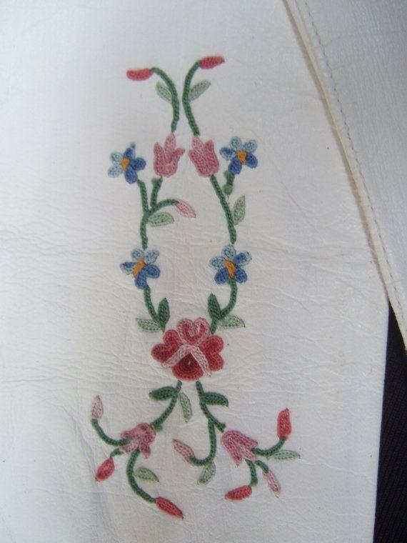 Elegant White Leather Embroidered Flower by worldmarketproductio