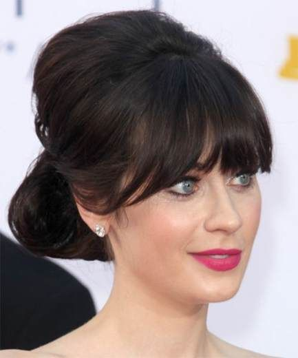 54 ideas wedding hairstyles for long hair with bangs zooey deschanel