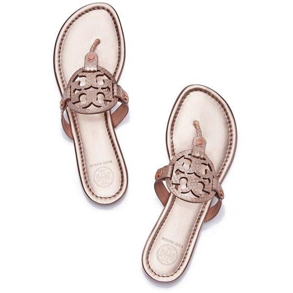 Tory Burch Miller Sandals, Metallic Snake-Print Leather (3 280 ZAR) ❤