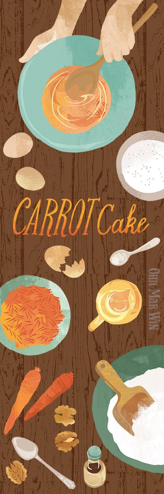 Carrot cake illustration for food magazine Thoorq. Food illustration baking Ohn Mar Win