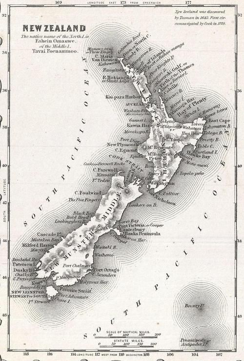 Map of New Zealand, 1855