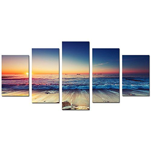 Amazing Cao Gen Decor Art-AS401 5 panels Framed Wall Art Waves Painting on Canvas