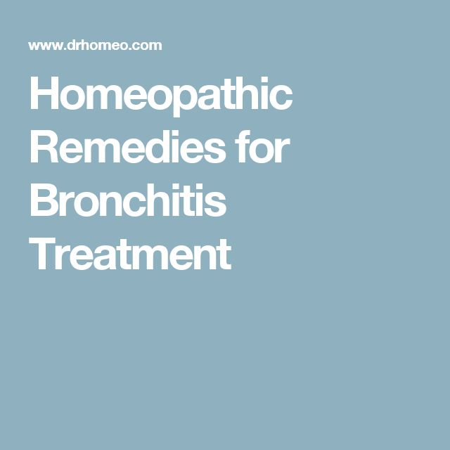 Homeopathic Remedies for Bronchitis Treatment