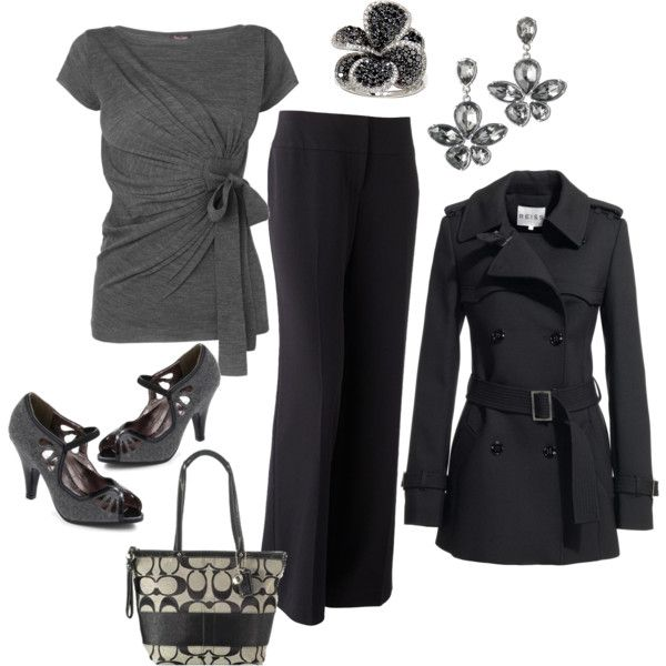 Black and Gray: Nice Outfit, Fashion, Style, Coach Purse, Work Outfits, Gray, Black, Coat