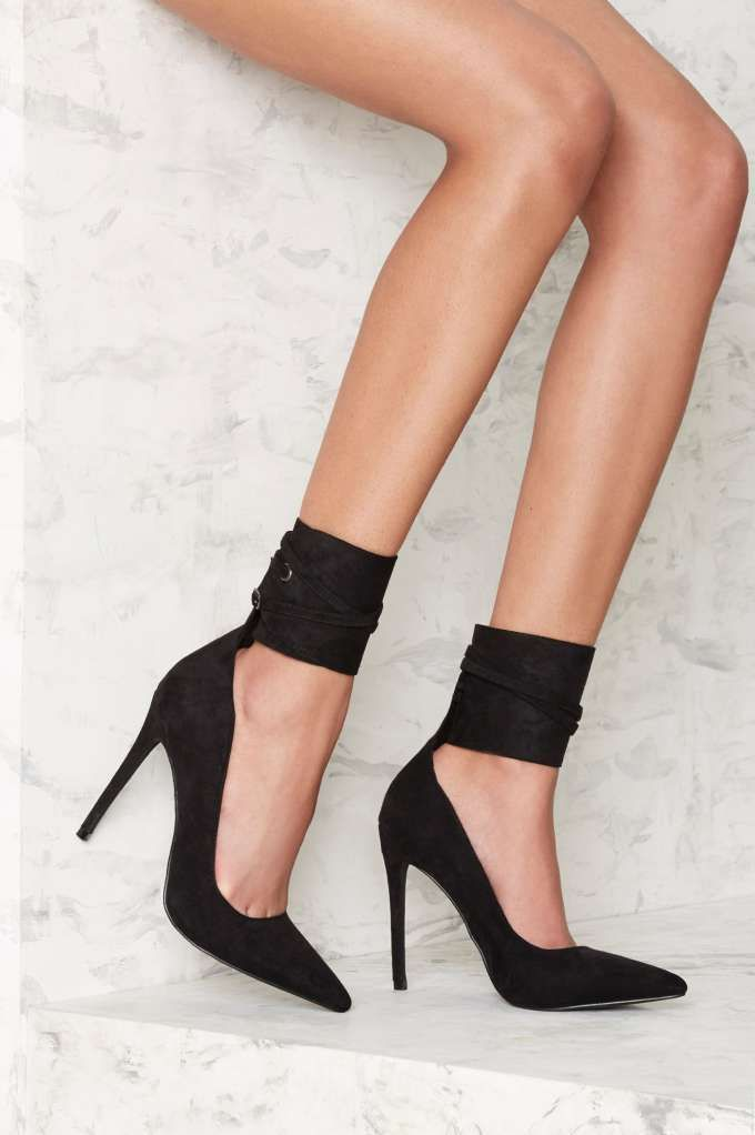 Nasty Gal Queen Wrap Heel Black Shop Shoes At Nasty