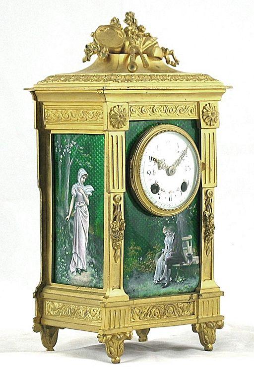 A Fine Louis XVI Style Gilt-Bronze and Green Enamel Mantel Clock - French   c.1890