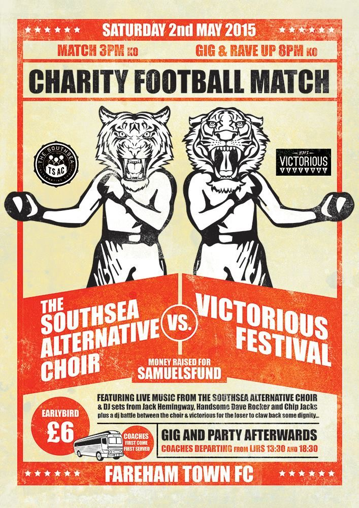Charity Football game and gig at Fareham Town FC's Cams Alders ground.