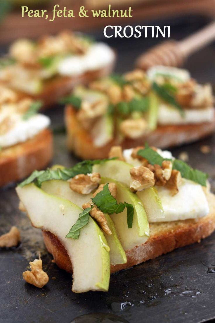 A traditional Italian crostini topped with ripe pear, feta cheese, walnuts, honey & mint.