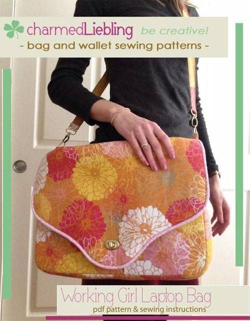 If you want to carry your laptop and other devices in style you may want to consider this laptop bag as your next sewing project! This bag comes with lots