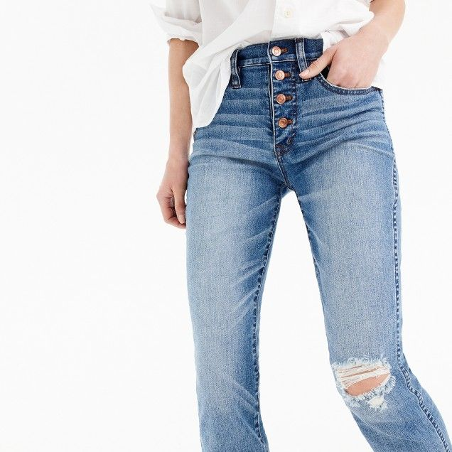 Vintage straight jean in reed wash with button fly : Women Early Access | J.Crew