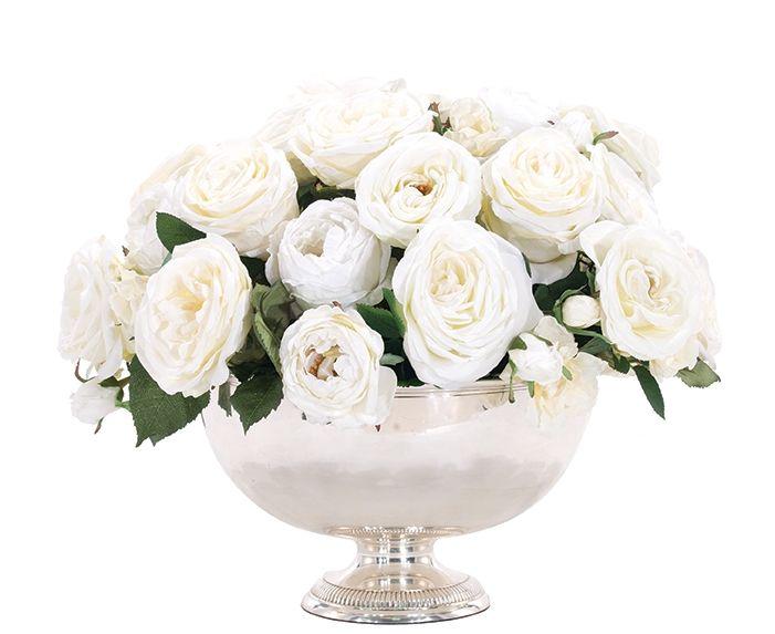 Rose Cream White, Silver Bowl Pedestal, 20wx20dx15h, NDI