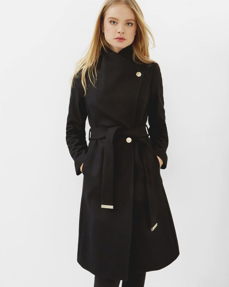 Long cashmere-blend wrap coat - Black | Jackets & Coats | Ted Baker UK