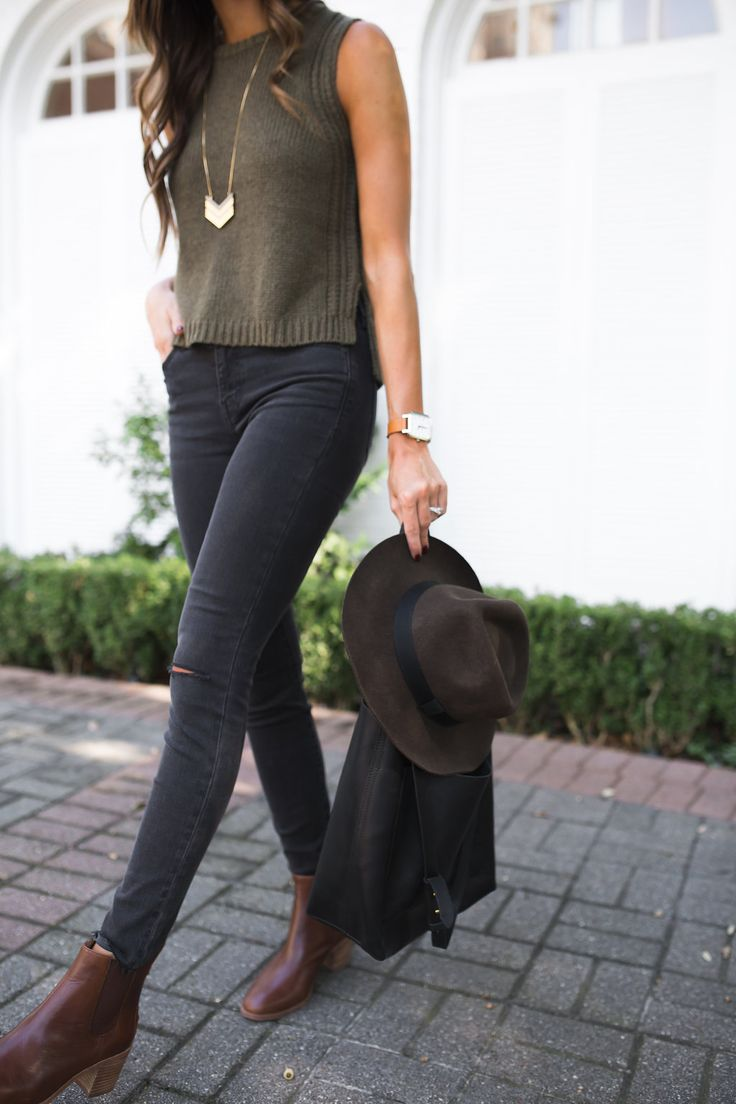 sleeveless sweater + distressed skinny jeans