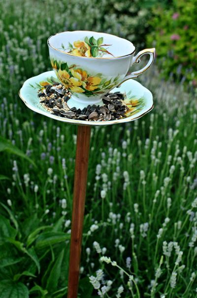 Teacups to make into birdfeeders - another thing to add to my thrift store shopping list.