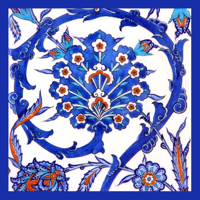 Traditional Turkish Ottoman Red Flower Home Decor Mosaic: Firca Ceramics Handmade Iznik & Ottoman Ceramics