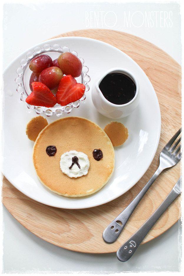 A cute lil' bear face requires minimum effort. | 18 Easy Creative Pancake Recipes On Pinterest