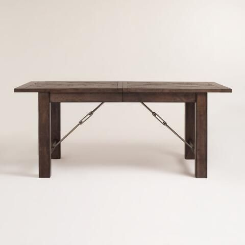 """World Market 72""""-96"""" $450 Beautifully weathered yet built to last, our Garner Extension Dining Table and our Garner Dining Collection delivers rustic elegance to your dining space."""