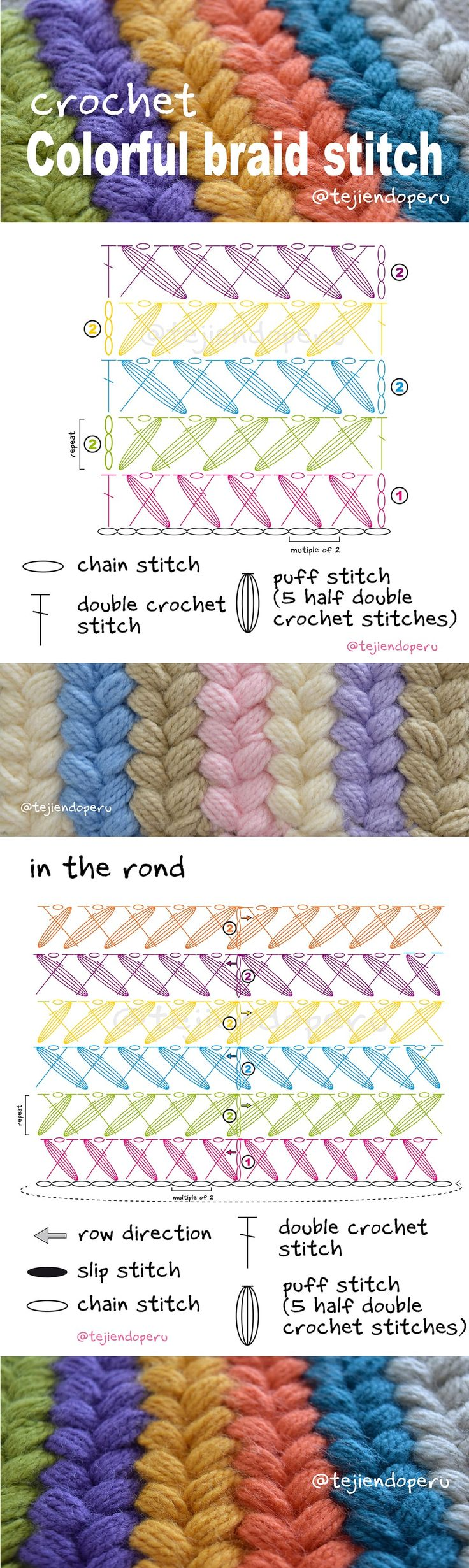 Colorful braid crochet stitch