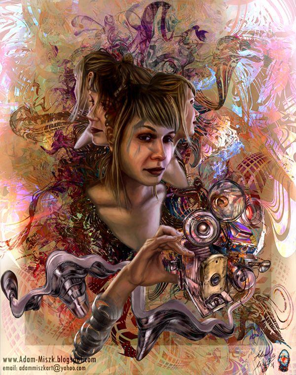 'P.M.P.'-portrait by Adam Miszk #visionaryart #art #digital #contemporaryart #dmt #illustration #fineart #scifi #digitalart #painting  #psychedelic #portrait