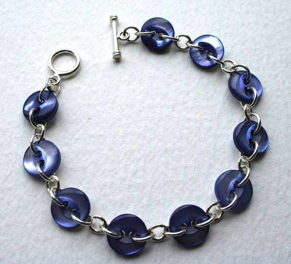 Blue Vintage Mother Of Pearl Button Bracelet Sterling by MrsGibson.