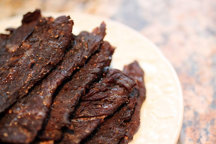 oven beef jerkey, must tryJerky Recipe, Beef Jerky, Flank Steak, Food, Homemade Beef,  Meatloaf, Snacks, Meat Loaf, Paleo Beef