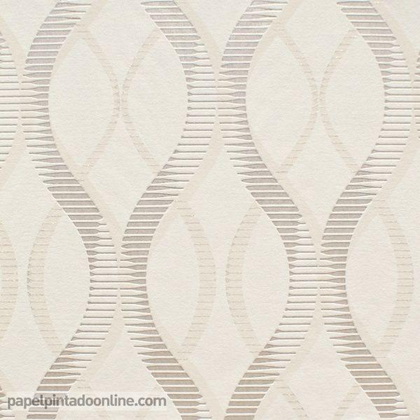 Papel Pintado Uptown UP-05-10-8 de líneas curvas repitiéndose verticalmente en todo el papel en un fondo en tono blanco roto con los dibujos en beige y un plata champán con purpurina.