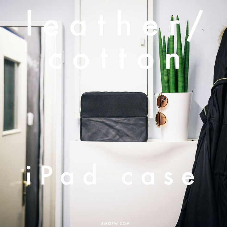 available at www.amofw.com; iPad case. Colour: Black Material: 100% Leather / 100% Cotton / YKK Zipper Fabric: Italy / Poland Fits: iPad 1,2,3,4 with (or without) smart-cover.