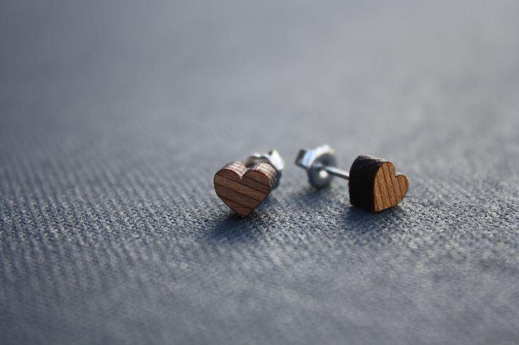 Heart studs made from cedar - $15