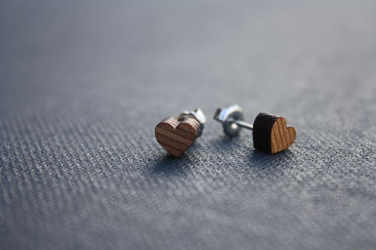 Heart studs made from cedar - $15