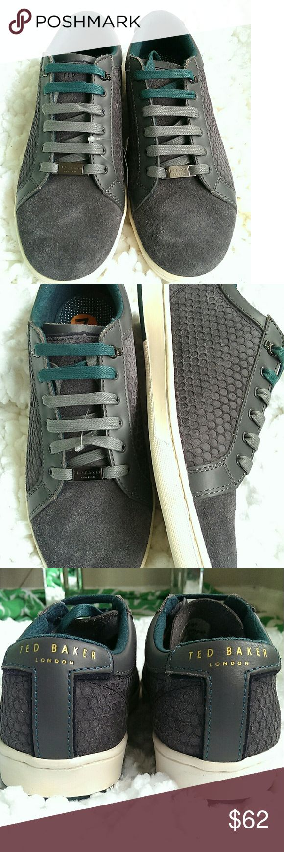 Ted Baker Fairford Sneaker Grey honeycomb suede and leather trim, two pairs of laces in gray and teal. There's great support and cushy padding.  Men's 7 or Women's 9. Ted Baker Shoes Athletic Shoes