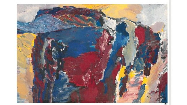 Komposisjon 1965 - tempera på lerret av Knut Rumohr. © Blomqvist Kunsthandel.