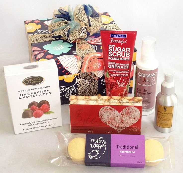 Pamper gift box ideal as a 'Get Well' gift, 'Thank-you' gift, or any occasion.  Gift Box includes Lavender Pillow Spray to relax and aid sleep, gentle face cleansing lotion organic, chocolates, cookies, shortbread, and a pomegranate body sugar scrub, $77. #Auckland_gifts #Get_well_gift_hampers #Corporate_gifts