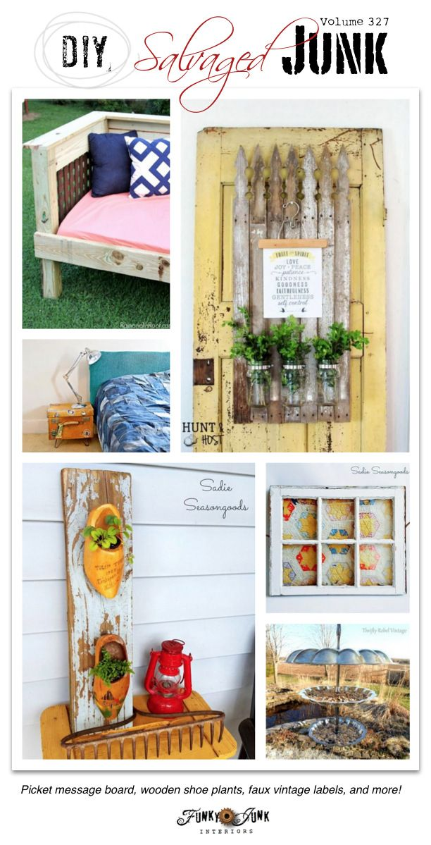 DIY Salvaged Junk - outstanding junk features and a link party with brand new projects on funkyjunkinteriors.net