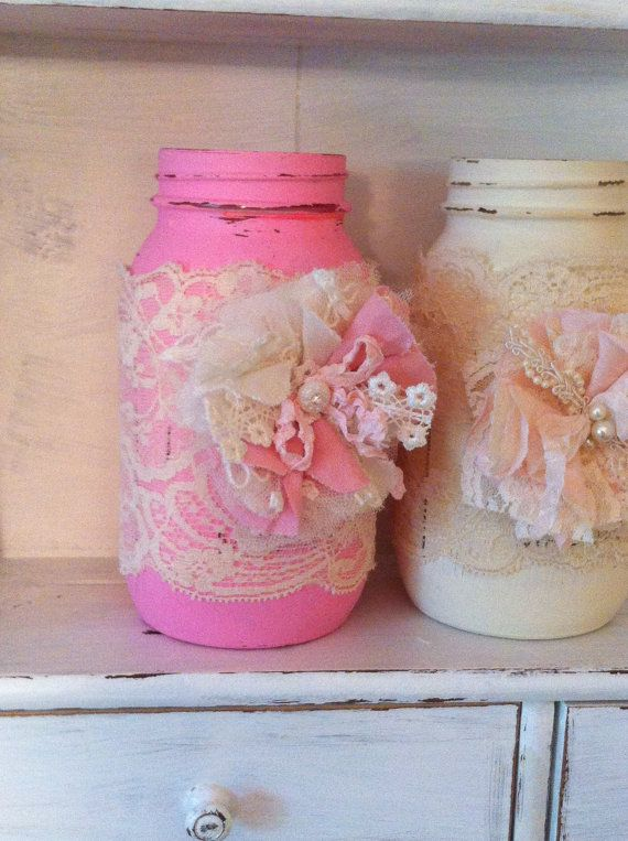 Pink, Ivory, Linen and Lace Flowers, Baby Shower Flowers