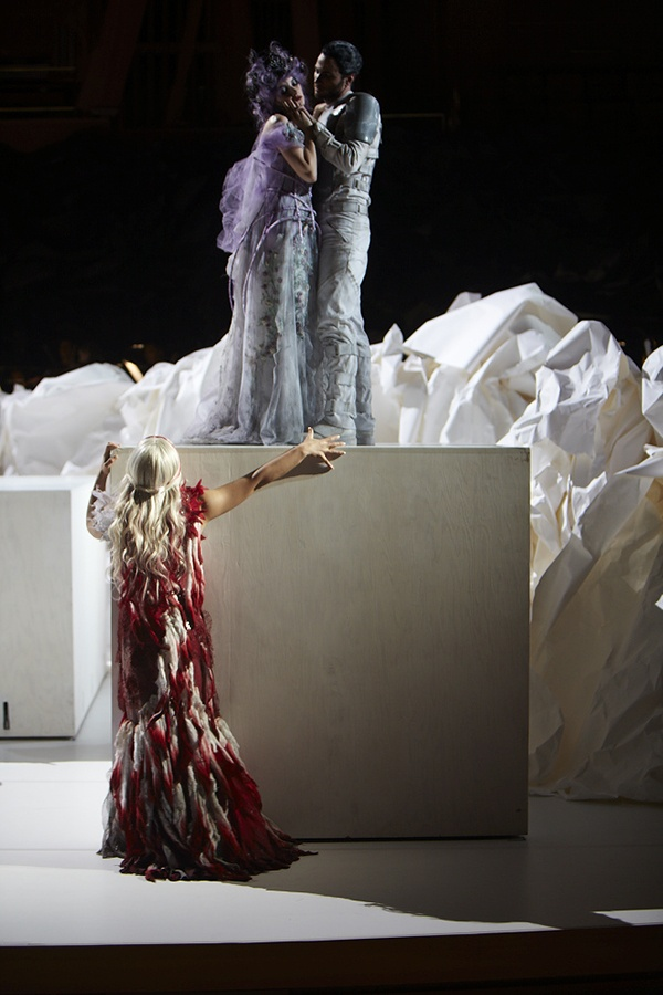 Carmela Remigio (Donna Anna) and Anna Prohaska (Zerlina) and Ryan Kuster (Masetto) during Act Two of Don Giovanni (Los Angeles Philharmonic, 2012) (photo:  Autumn de Wilde)