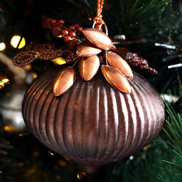 Copper Glass Ribbed Jewel Bauble in Mixed Metals Christmas