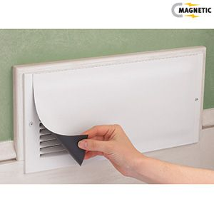"MAGNETIC VENT COVERS. Place over vents in unused rooms to send heat where it's needed. More effective than closing vents! Reusable magnetic vinyl covers won't scratch and can be easily trimmed to fit. 15-1/2""L x 8""W.  $12.98 for 3. For those of you with too many rooms..."