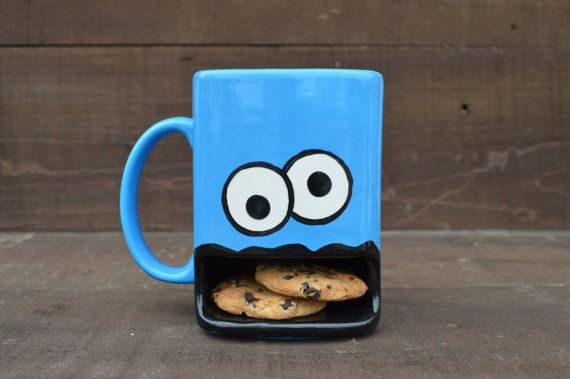 when you need a sweet treat -- Googly Eyed Monster Ceramic Cookie and Milk Dunk Mug
