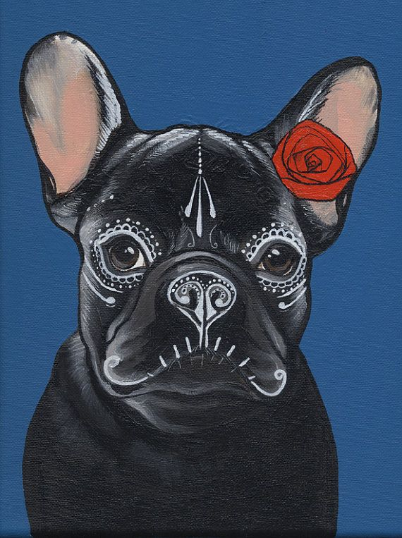Day of the Dead / French Bulldog Painting by TheDogPaintersStudio