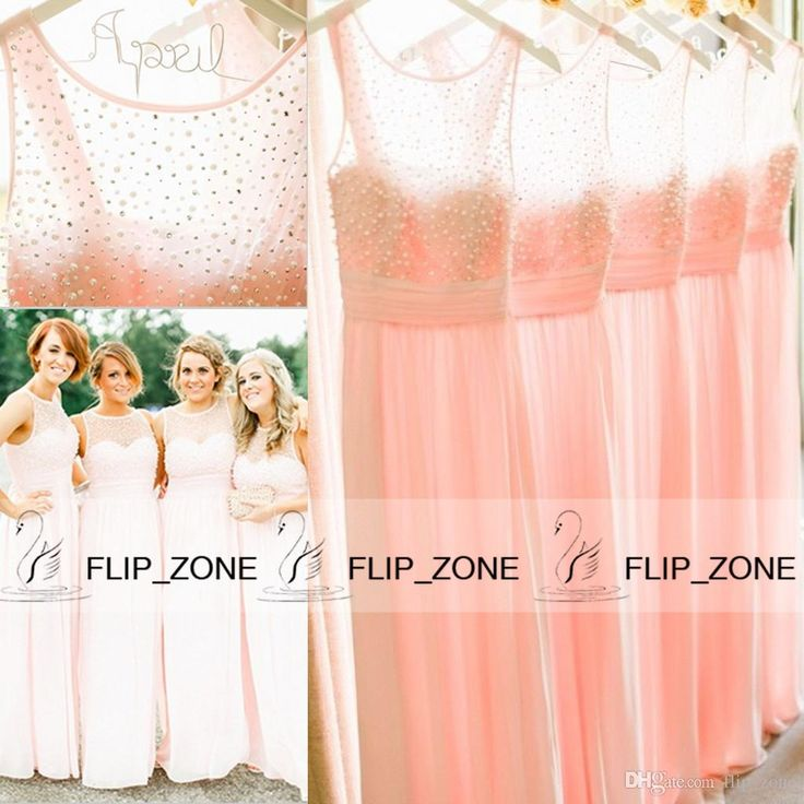 Blush Sheer Jewel Neck 2015 Cheap Bridesmaid Dresses with Illusion Cap Sleeve Chiffon Beads Long Maid of Honor Beach Wedding Gown Light Pink from Flip_zone,$104.5   DHgate.com
