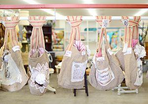 Coeur d'Alene, Idaho Kootenai County Fairgrounds Booth Display, Vintage, Vendor bags. Junk Salvation