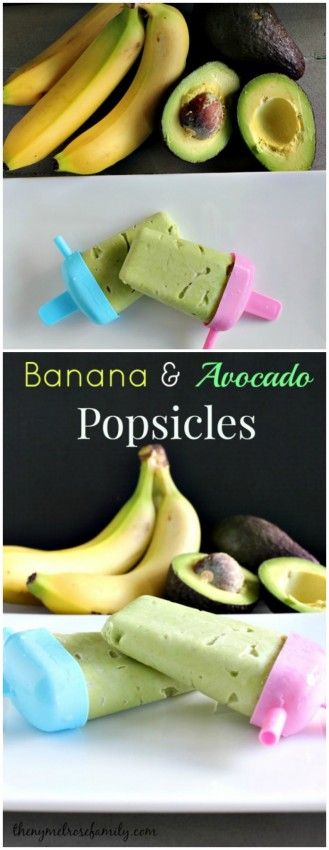Banana & Avocado Popsicles are the perfect healthy snack.Baby Popsicles, Avocado Popsicles Good, Ice Avocado Cream, Popsicles Good Treats, Popsicle Recipes Healthy, Healthy Popsicles, Popsicles Healthy Snacks, Bananas Avocado, Avocado Bananas