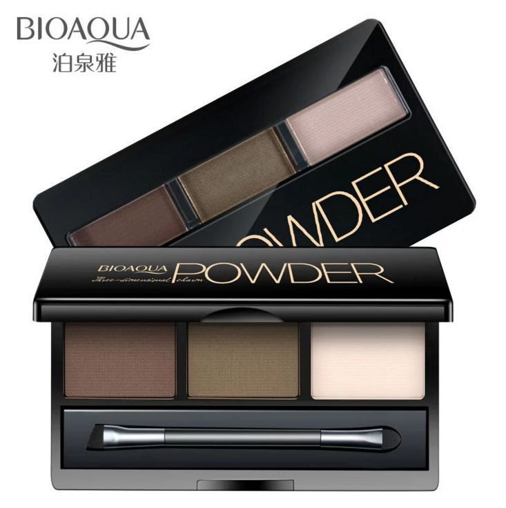 BIOAQUA 3 Colors Optional Eyebrow Powder Palette Makeup Shading With Brush Mirror Box Eye Brow high Quality