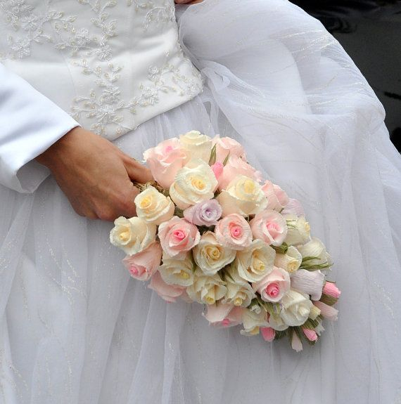Bride Wedding Bouquet high Quality Crepe Paper by moniaflowers