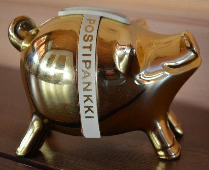 "Kultapossu, iso tai pieni, tai muu, ""normaali""värinen Postipankin, Leonian tai Sampo-pankin säästöpossu"