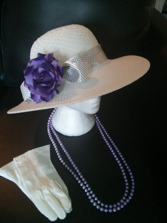 Deep Purple Tea Party Set Lovely Hat Vintage Gloves