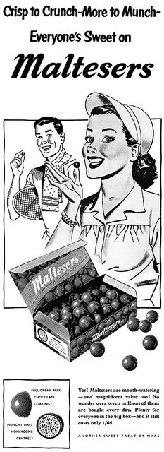 1950s Ad for Maltesers Chocolate Candy - seems to be an earlier version of today's 'Whoppers'
