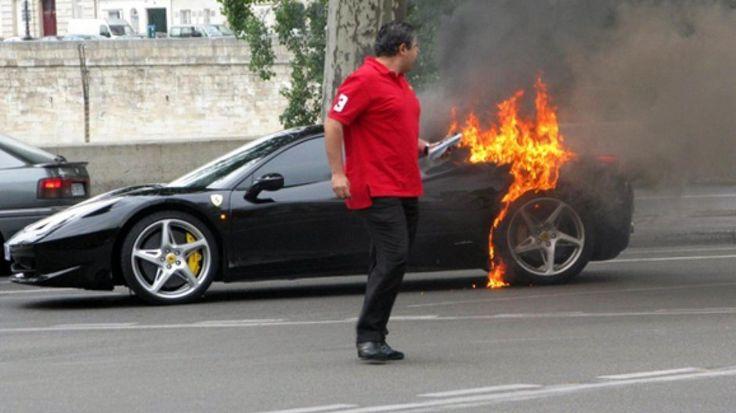 O beizadea rasfatata din Elvetia si-a dat foc la propriul Ferrari 458 Italia