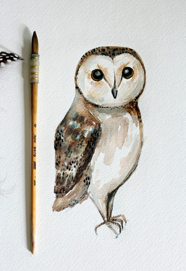 Diy owl watercolor painting simple watercolor for Simple watercolor tutorial