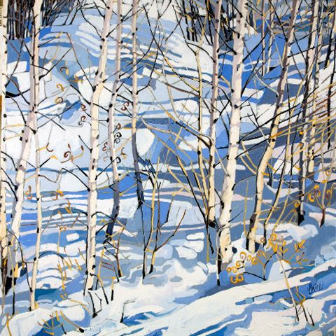 "Jennifer Irvine, Winter Sunshine, Meribel, 30"" x 30"", limited edition print"